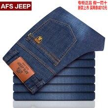 Горячая марка мода afsjeep весна осень мужские джинсы ковбойские джинсовые комбинезоны хип-хоп мешковатые сплошной прямой брюки homme