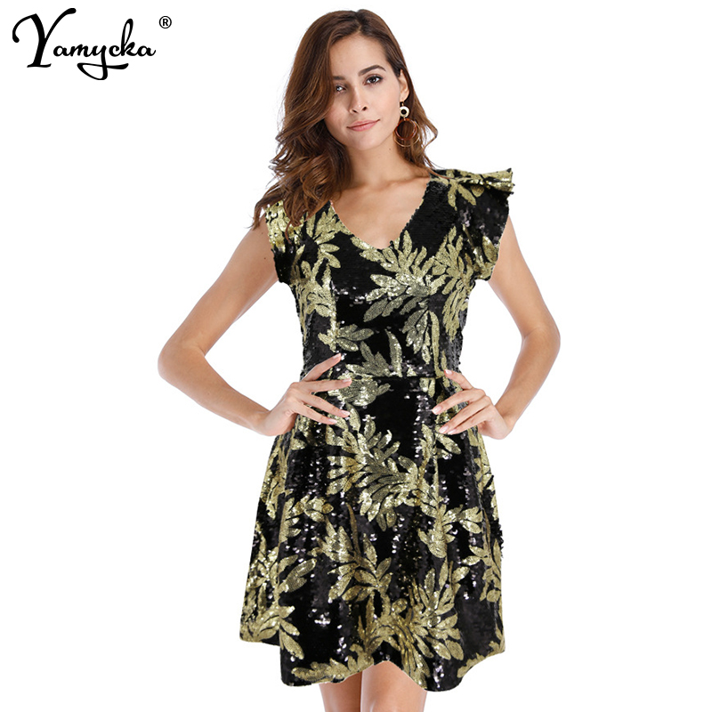 Sexy Mini Sequin Leaves Print Dress Women Fashion Slim Vintage Vestidos Evening Party V Neck Dresses 2019 Summer New in Dresses from Women 39 s Clothing