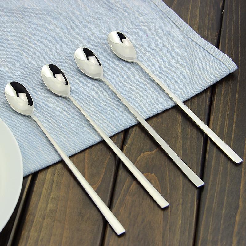 Lepel 4-delige roestvrijstalen lange steel lepeltjes voor Honey Ice Tea Cream Dessertkoffie Roeren Mengkannetje