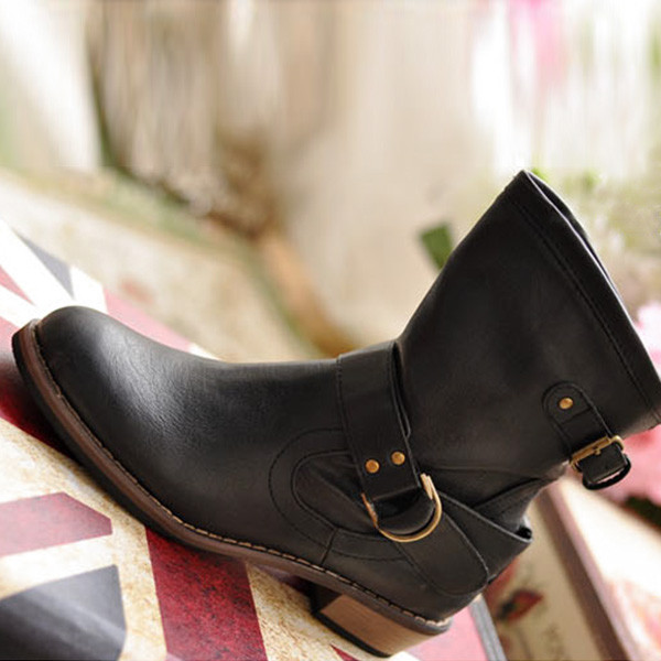 21acc40774bc 2015 Women Fashion Martin Short Boots British Driving Vintage PU ...