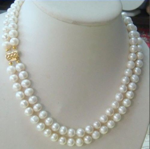 Venda Hot new Style >>>>> hot-2-row-9-10MM-AKOYA-REAL-WHITE-PEARL-NECKLACE-14KGP-Clasp