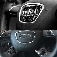 Car Styling Carbon Fiber Steering Wheel Decorative Badge Sticker For Audi A6L