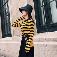 Korean Fashion Slim Fit Striped Knitted Yellow Sweater Women Pullover Winter 2018 harajuku jumper Crop Top Sweater Schoolgirl