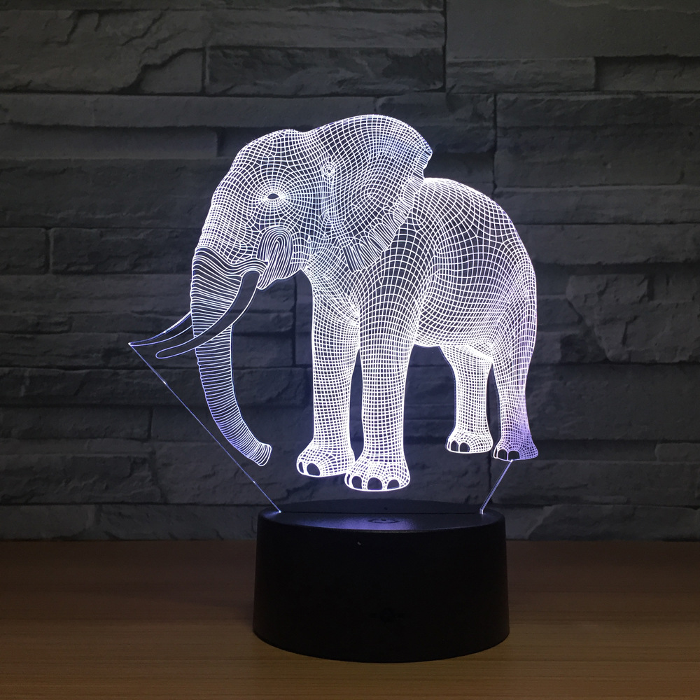Birthday Gift Night Lights Ivory Elephant 3D LED Night Lights Novelty LED Animal Lamp 7 Colorful Changing LED Touch Table Lamp new bicycles 3d lights led 7 colorful remote control 3d lamp acrylic visual light novelty luminaria led night light
