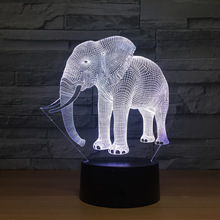 Birthday Gift Night Lights Ivory Elephant 3D LED Night Lights Novelty LED Animal Lamp 7 Colorful Changing LED Touch Table Lamp