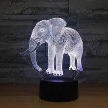 Doğum günü hediyesi gece ışıkları fildişi fil 3D LED gece işıkları yenilik LED hayvan lambası 7 renkli değişen LED dokunmatik masa lambası