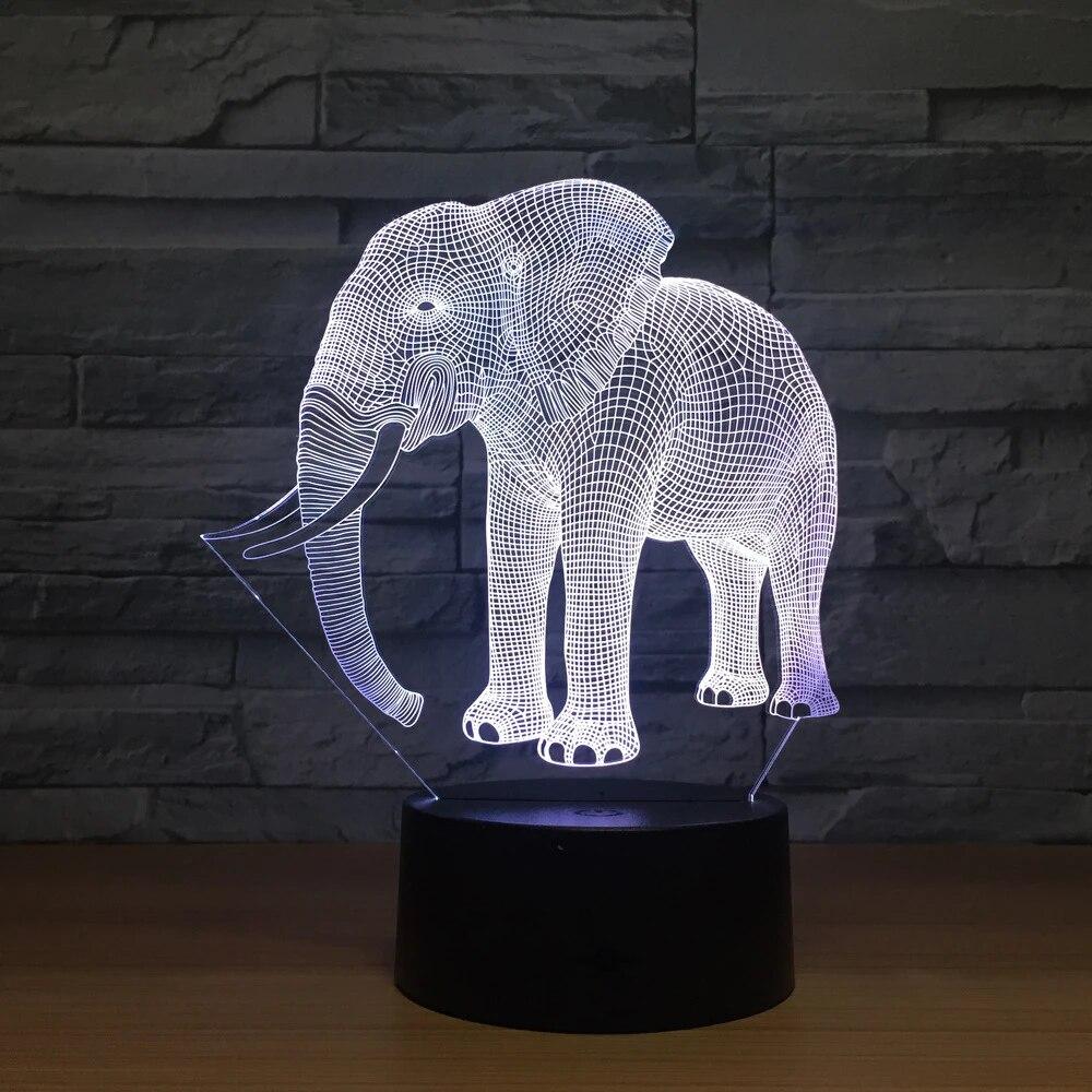 Geburtstag Geschenk Nacht Lichter Elfenbein Elefanten 8D LED Nacht Lichter  Neuheit LED Tier Lampe 8 Bunte Wechsel LED Touch Tisch lampe