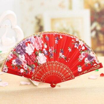Nueva oferta Ventilador Plegable de estilo chino Vintage con flores, Ventilador Plegable...