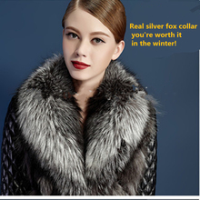 Adult women real fur scarf gray natural soft plush 90cm silver fox collar wholesale and retail