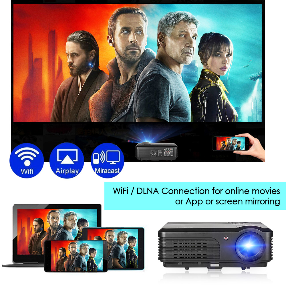 4200 Lumens LCD LED Projector Android WiFi Bluetooth Home Cinema Beamer  Wireless Sync HD Video USB HDMI VGA For Smartphone TV PC