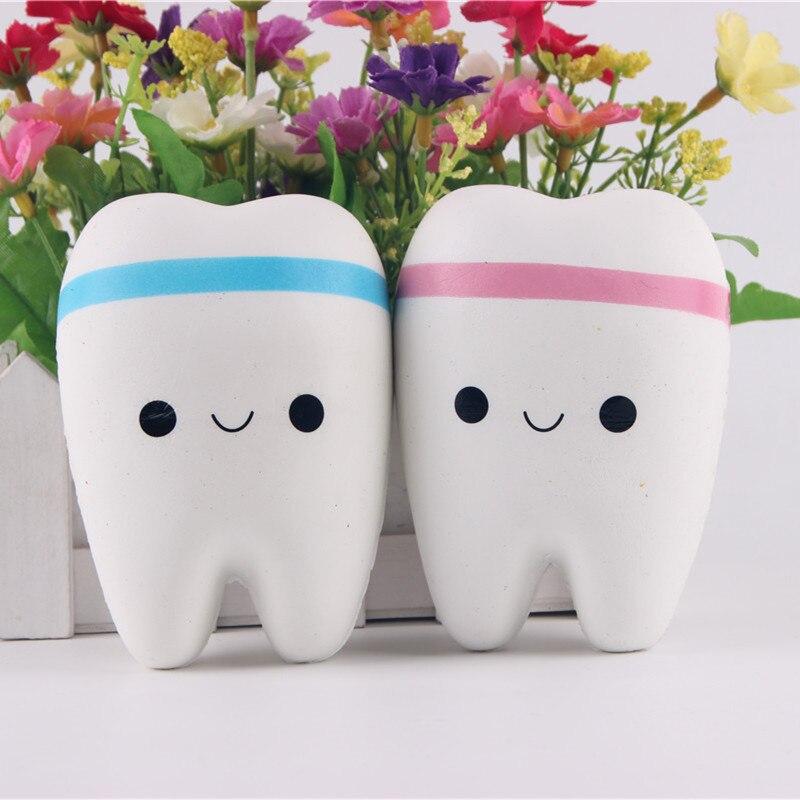 Jumbo Squishy pomalu rostoucí na Kawaii 11cm zuby měkké stlačení roztomilý mobilní telefon popruh chléb dort natahovací hračka dárek přívěsek