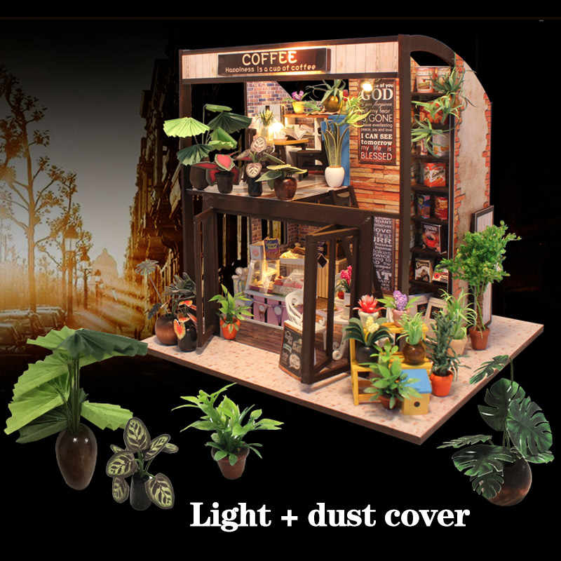 Doll House Miniature DIY Coffee House Time Travel Dollhouse With Furnitures Wooden House Toys For Children Birthday Gifts