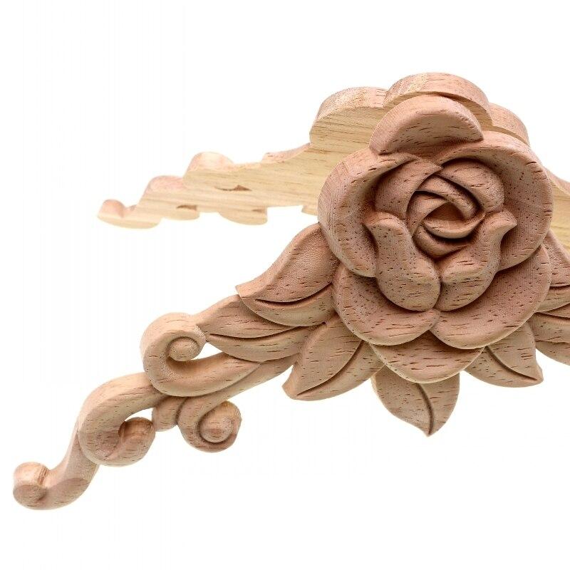 RUNBAZEF SRose Floral Wood փորագրված Decal անկյուն - Տնային դեկոր - Լուսանկար 5
