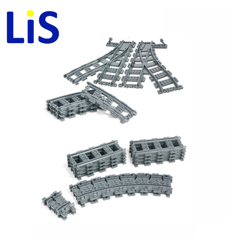 Lis City Trains Train Flexible Track Rail Crossing Straight Curved Rails Building Blocks Set Bricks Model Toys Compatible Lepin thick iron cage shaped window curtain track curtain rod straight track rail roman rod guide rails cornices