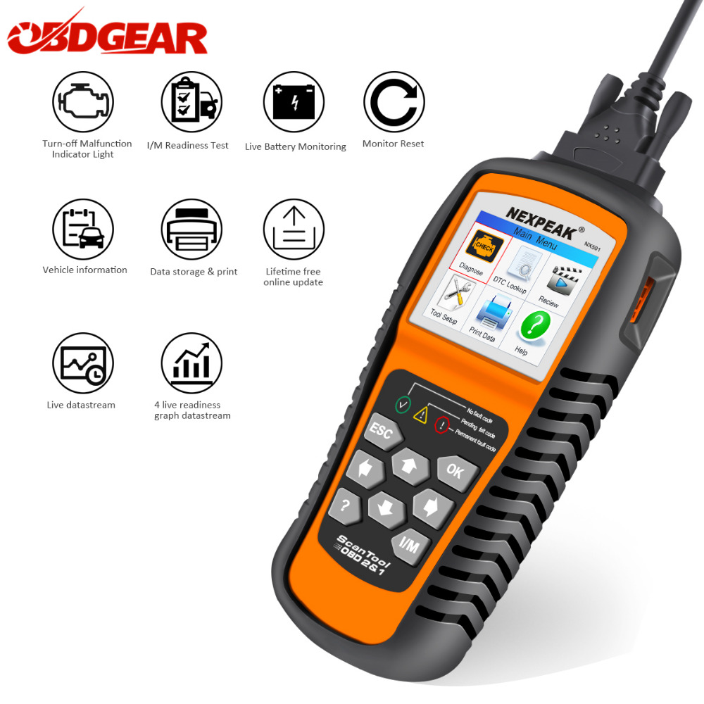 2018 OBD2 Autos scanner NEXPEAK NX501 Full ODB2 Scanner Supports Multi-languages ODB 2 Auto Diagnostic Scanner Better Than NT301