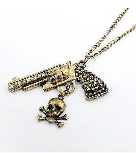 2013 Hot Selling Fashion Vintage Style Rhinestone Gun Skull Skeleton Charms Necklace N220 In