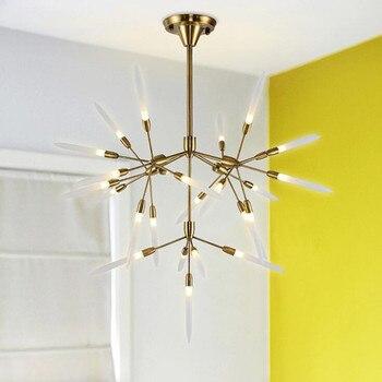 Nordic Postmodern Simple Designer Living Room Acrylic G4 LED Chandelier Light Creative Personality Bedroom Villa Decor Lamp