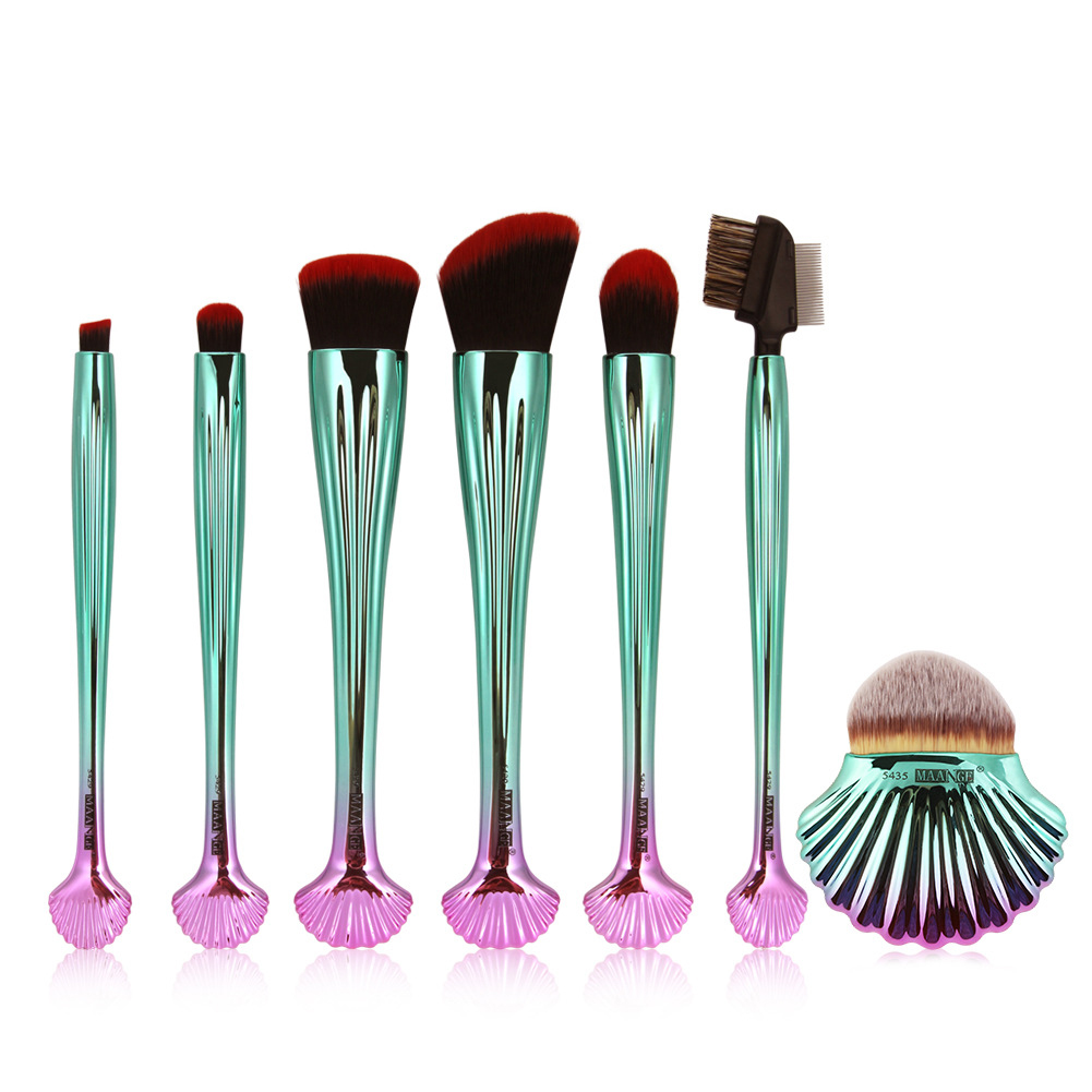 7 Pcs Professional Shell Shape Makeup Brushes Blush Synthetic Hair Brush Set 7pcs makeup brushes professional fashion mermaid makeup brush synthetic hair eyebrow eyeliner blush cosmetic
