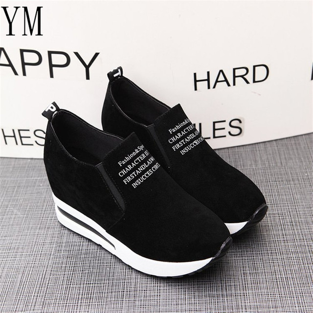 2018 Flock New High Heel Lady Casual black/Red Women Sneakers Leisure Platform Shoes Breathable Height Increasing Shoes 2