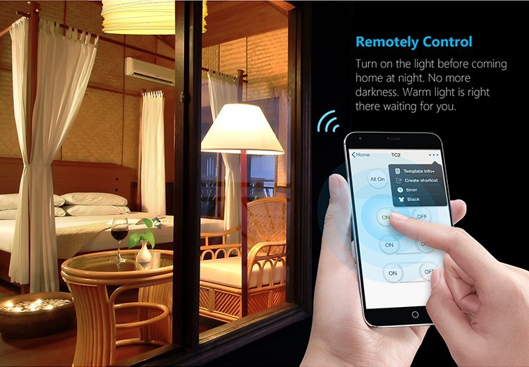 12--Broadlink TC2 2Gang Wifi Wall Light Smart Switch RF433MHZ Wireless Remote Control Smart Home Automation System Via Android IOS