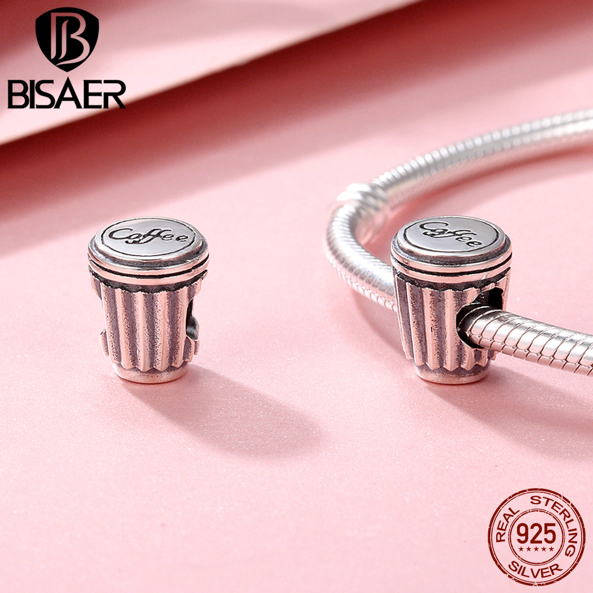 100% 925 Sterling Silver A Small Cup Of Coffee Love Cute Beads Charm Fit Women Bracelet Charms Silver 925 Original Fine Jewelry