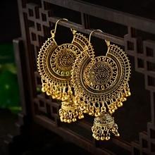Gold Traditional Indian Ethnic Tassel Dangle Earrings For Women Big Round Gypsy Jhumka Jhumki Earring Statement Drop