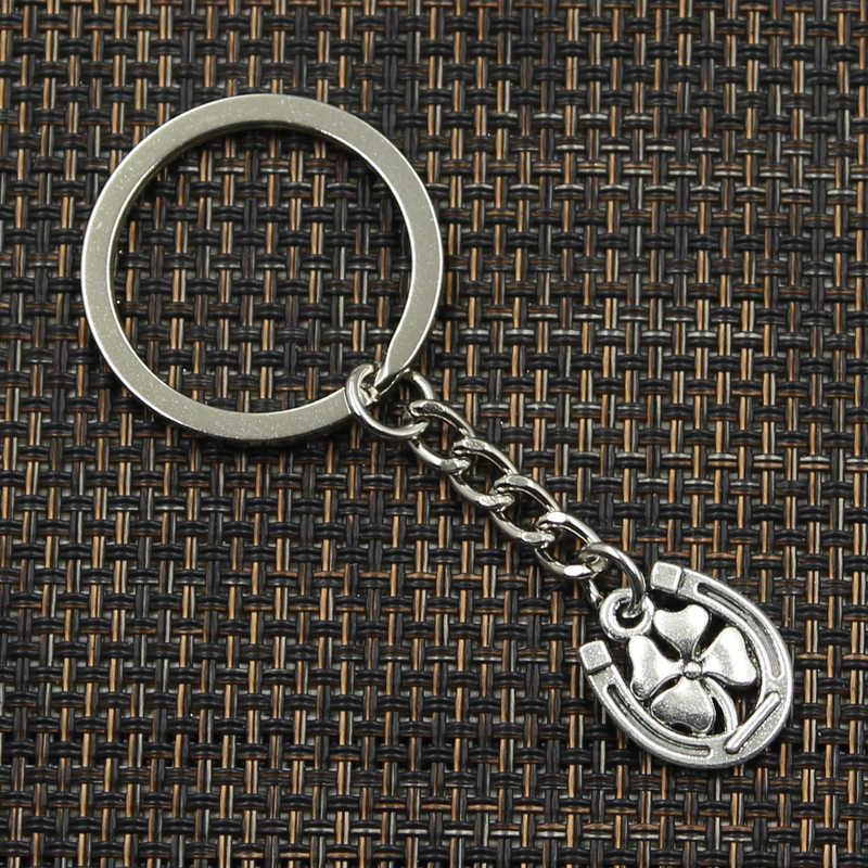 Новая мода брелок 18x15 мм счастливая подкова подвески в виде листьев клевера DIY Для мужчин ювелирные изделия, автомобильные брелки с кольцом держатель сувенир для подарка