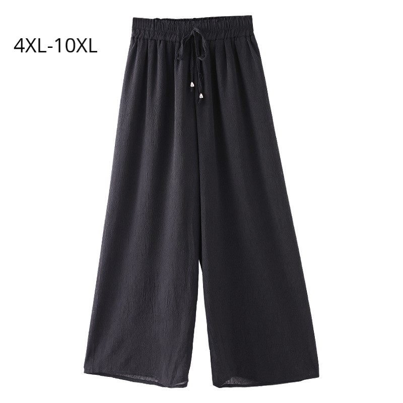 Plus Size 10XL 8XL 6XL Women Ankel length Pant Female Elastic High Waist Wide Leg Chiffon Pants Femme Slim Trousers For Mujer