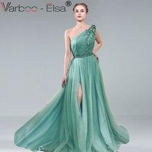 VARBOO_ELSA/зеленое Тюлевое вечернее платье с одним плечом, сексуальное платье с высоким разрезом, а-силуэт, платье для выпускного вечера, robe de soiree, 3D платья для вечеринки с аппликациями
