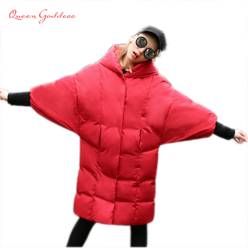 2018 autumn and winter Dovetail Design and rabbit ear women 90% white down jacket with hooded raglan sleeve plus size parkas