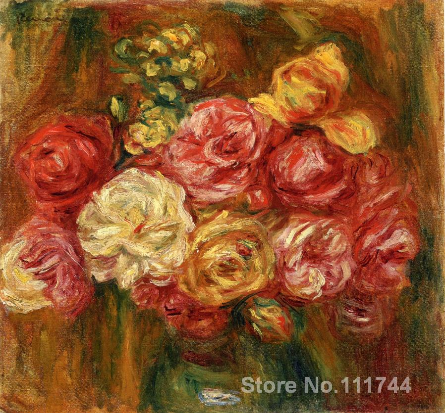 Impressionist flowers art Bouquet of Roses in a Green Vase by Pierre Auguste Renoir paintings Hand painted High qualityImpressionist flowers art Bouquet of Roses in a Green Vase by Pierre Auguste Renoir paintings Hand painted High quality