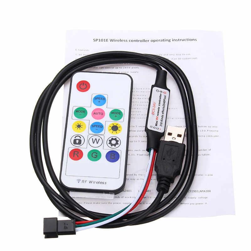 USB 3key Кнопка Управление диммер для DC5V WS2812 светодио дный Pixel полосы света модуль с разъемом JST RF 14key USB WS2812B Управление;