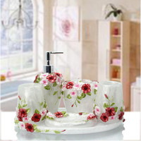New 5pcs/set Resin Creative romantic Bathroom Sets Bath Accessories Wash Gargle Suit Bathroom Products Free Shipping