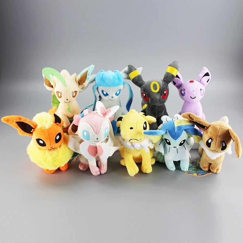 9pcs/lot 20CM Sit Eevee Sylveon Espeon Flareon Umbreon Glaceon Jolteon Vaporeon Leafeon Stuffed Animals Plush Toys