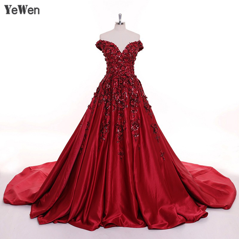 Sexy Burgundy Long   Evening     Dresses   for women elegant 2019 satin Flower Dubai Champagne Party Prom Formal   Dress   Vestido De Festa