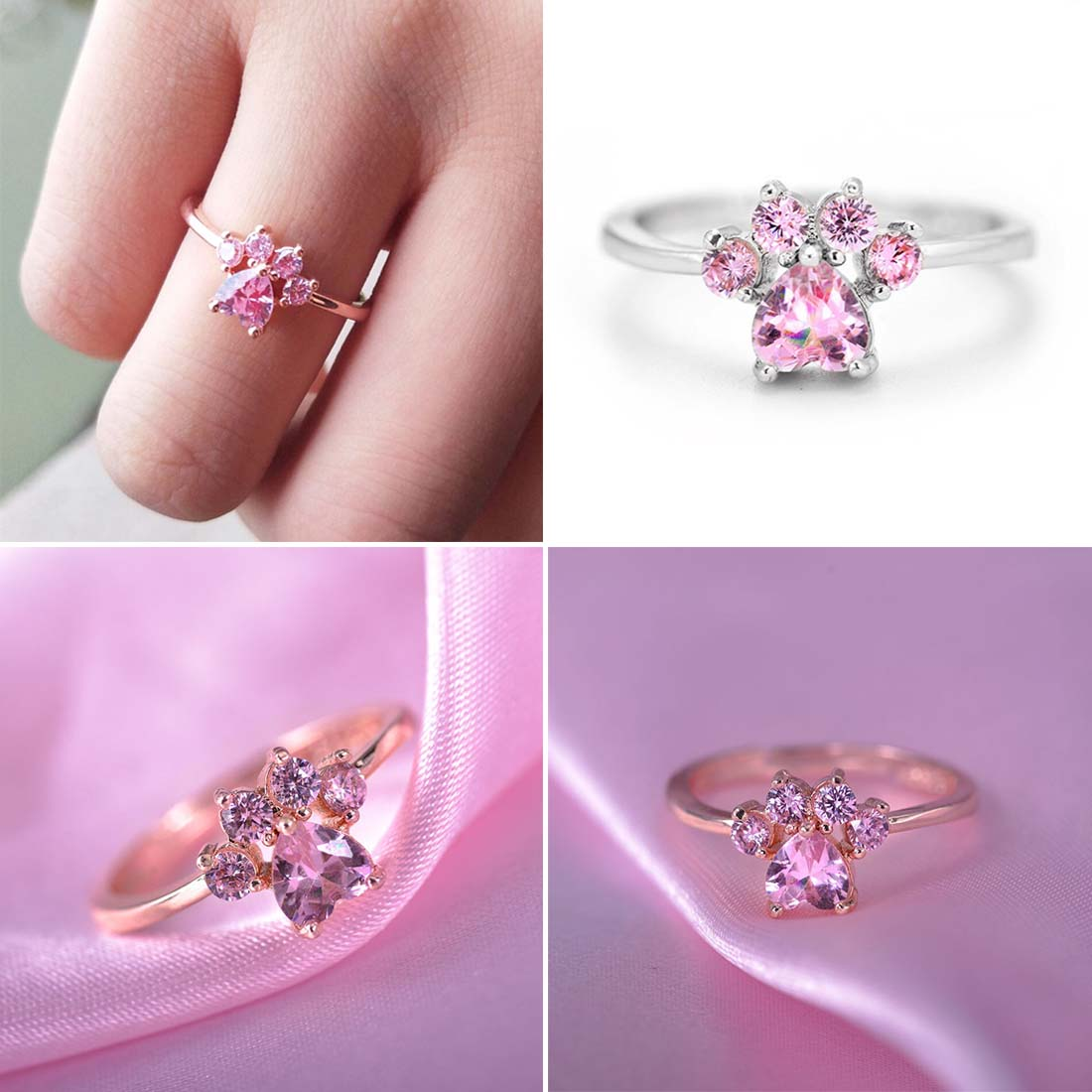 Ring-Cut Zircon Romantic Rose Gold Animal Paw-Print Heart Adjustable Bear Paw Women Cat title=