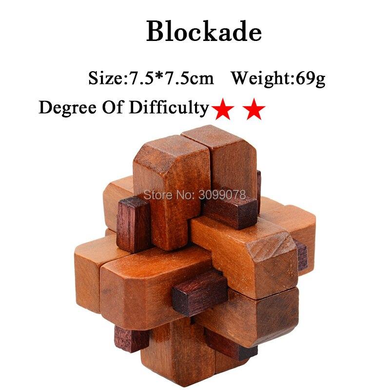 IQ Brain Teaser Kong Ming Lock Lu Ban Lock 3D Wooden Interlocking Burr Puzzles Game Toy For Adults Kids 5