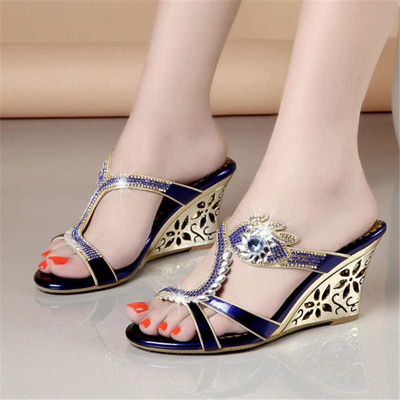 Women Summer Open Toe Lady Wedges Heel Rhinestone Slippers Shoes Plus Size 34 40 Girl Opened Toe Sequin Slipper XMX A0041