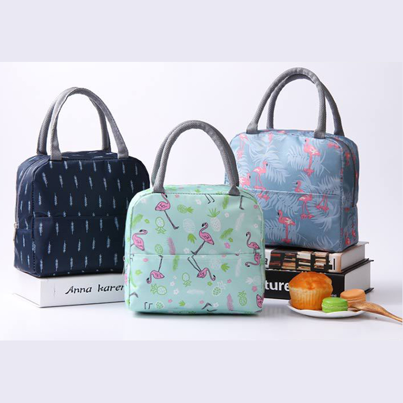 LIXUN New Fresh Insulation Cold Bales Thermal Oxford Lunch Bag Waterproof Convenient Leisure Bag Cute Flamingo Cuctas Tote 1PC