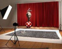 Bola roja de animales de circo elefante cebra rojo cortinas etapa Antecedentes Vinilo telones Ordenador paño de impresión de la pared de madera de época