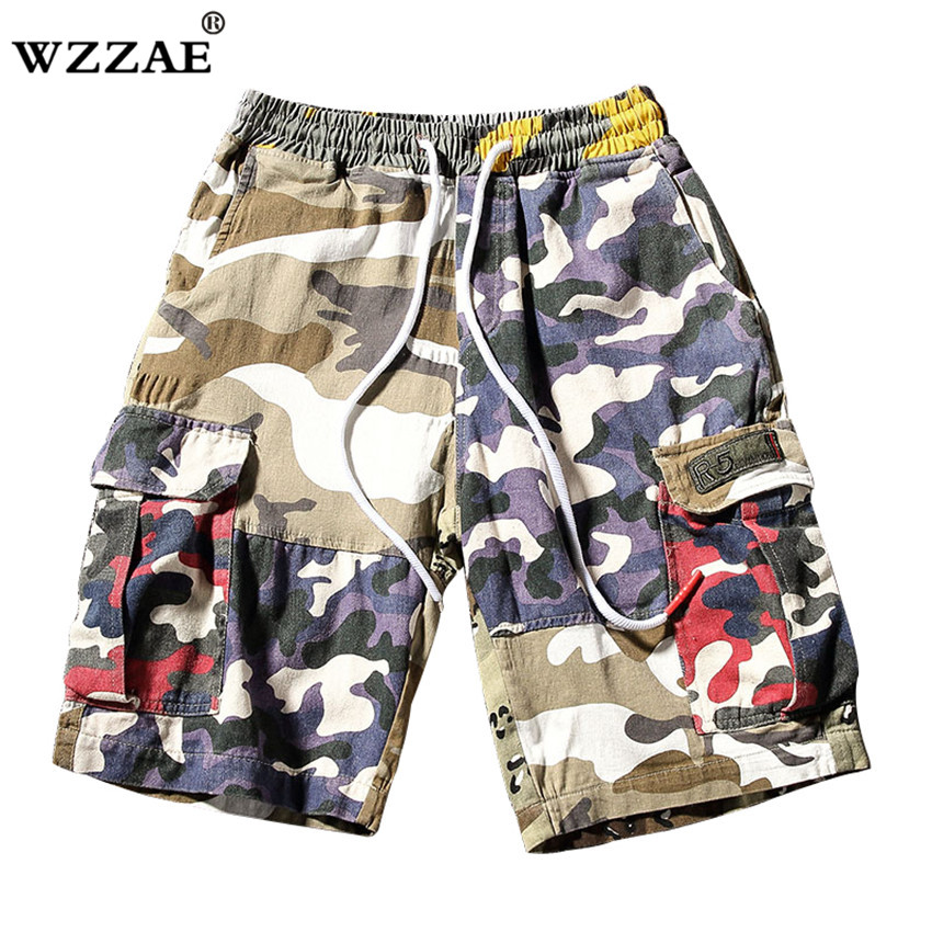 WZZAE 2018 New Camouflage Loose Cargo Shorts Men Cool Summer Military Camo Short Pants Homme Cargo Shorts