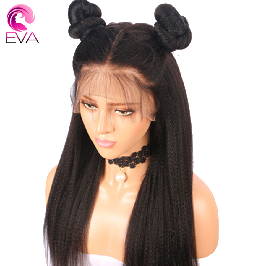 Eva Fake Scalp 370 Lace Frontal Human Hair Wigs Pre Plucked With Baby Hair Yaki Straight Brazilian Remy Hair Wig For Black Women