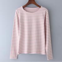 2018 популярный стиль с длинными рукавами женская футболка в полоску с корейский Чистый хлопок майка Топ