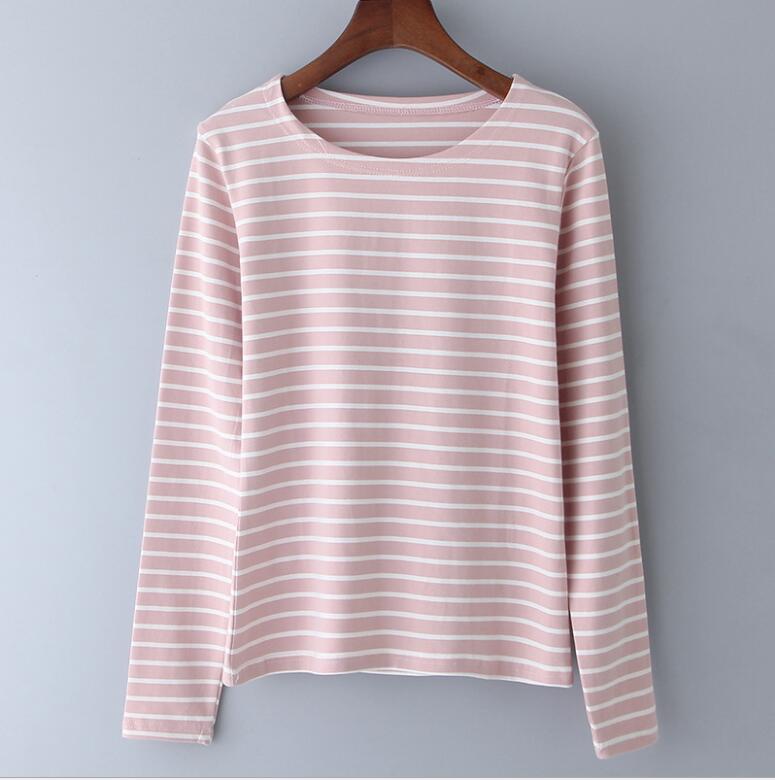 2018 hot style à manches longues femmes de t-shirt rayé avec Coréenne pur coton maillot top