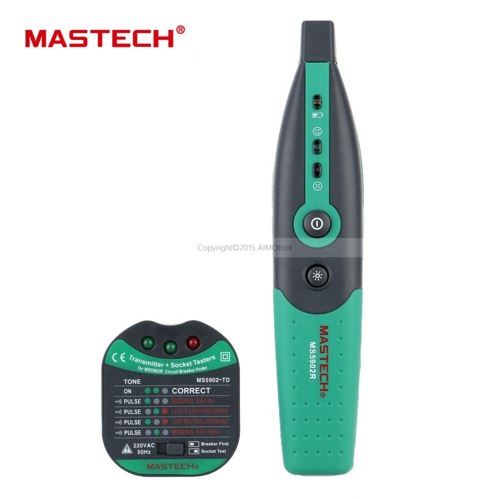 Mastech ms5902 automático disjuntor finder fusível soquete tester especificação europeia 220 v/230 v com lanterna elétrica