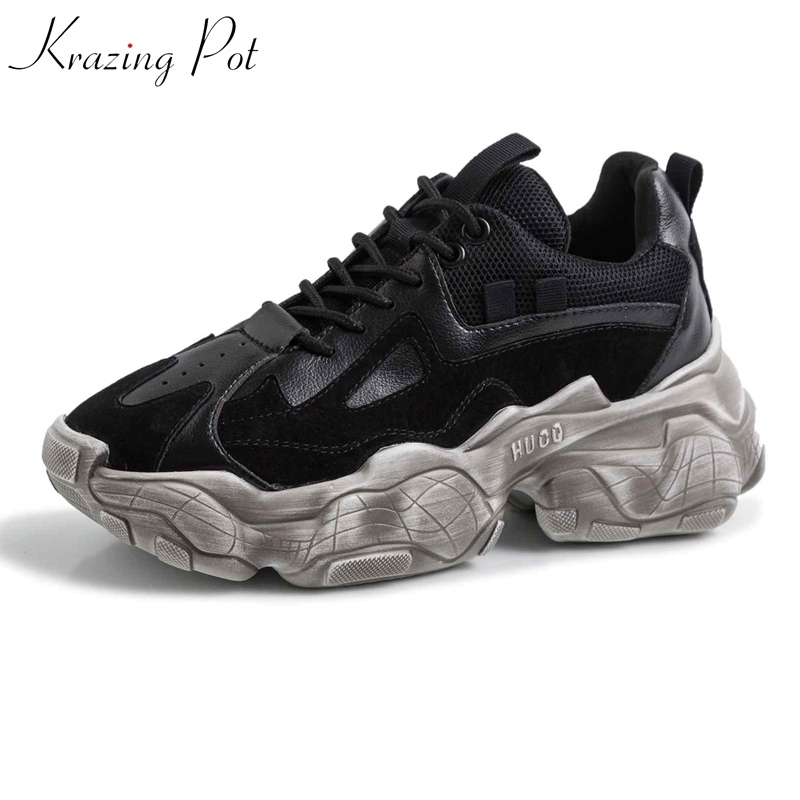 Krazing pot genuine leather platform white sneakers lace up round toe breathable big size fashion luxury
