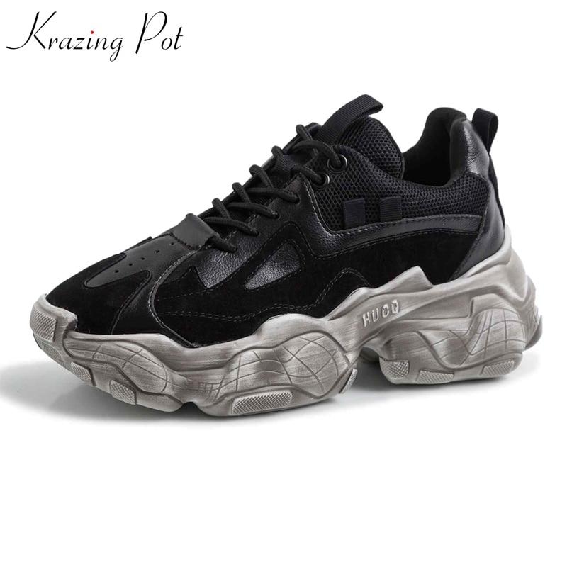 Zapatillas blancas de plataforma de cuero genuino de maceta con cordones de punta redonda transpirables de gran tamaño zapatos vulcanizados de lujo L33-in Zapatos vulcanizados de mujer from zapatos    1