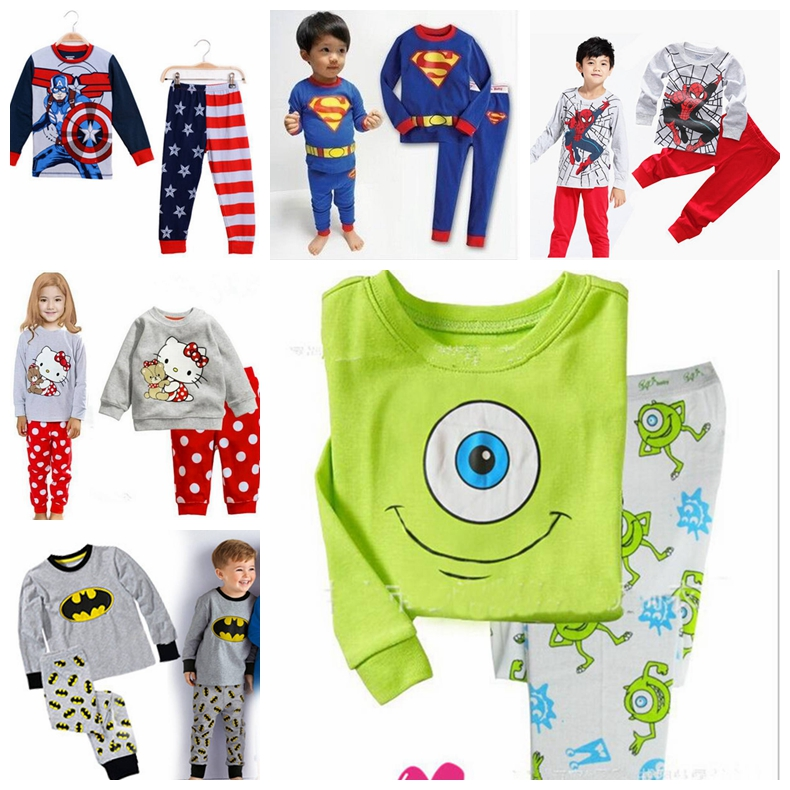 Toddler Kids Boys Pajamas Nightwear Sleepwear Cartoon Costume T-shirt+Pants
