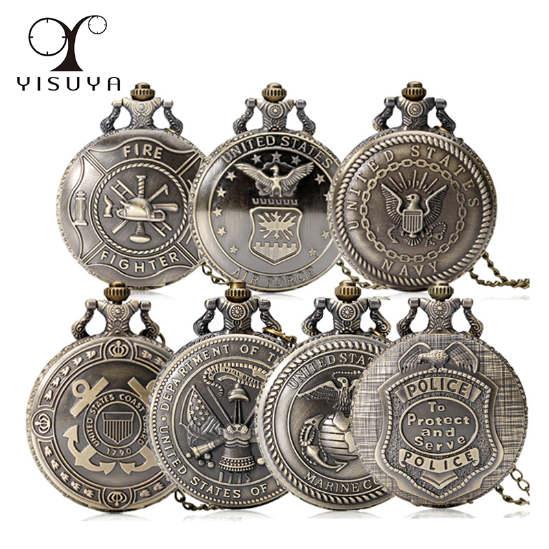 Men Quartz Pocket Watch Alloy United States Military Series Retro Style Round White Dial Pendant Watch Necklace Chain Clock Gift