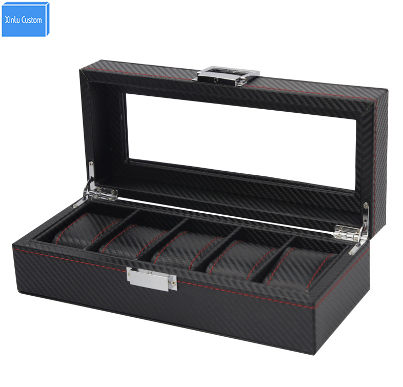 2017 Luxury Black Stripe Knit Red Sew 5 Grids Jewelry Watches Display&Storage Box Case with Window&Cushion Collect Lock Box Hour